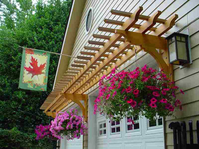 6   Garage Arbor With Hanging Baskets
