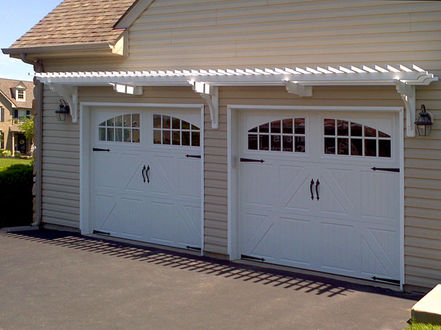 Garage trellis above carriage doors